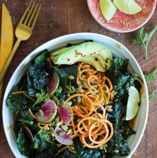 Sweet Potato Kale Salad with Almond Butter Dressing (vegan) | dishingouthealth.com