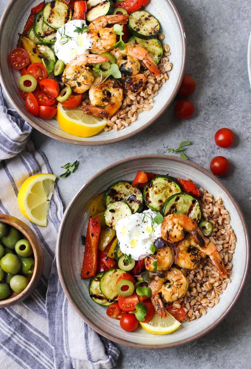 Greek Shrimp and Farro Bowls | dishingouthealth.com