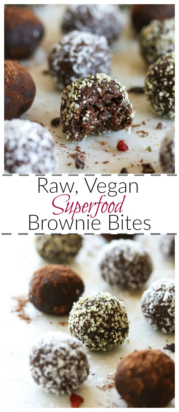 Raw Superfood Brownie Bites (vegan, gluten free) | dishingouthealth.com
