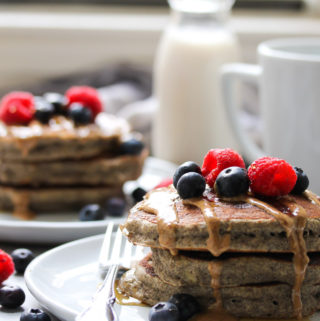 The Fluffiest Buckwheat Banana Pancakes | dishingouthealth.com