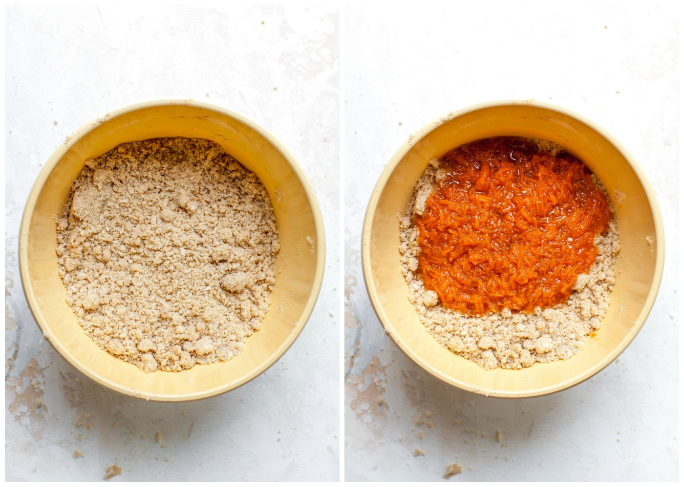 Step-by-step demonstration of mixing wet ingredients into dry ingredients