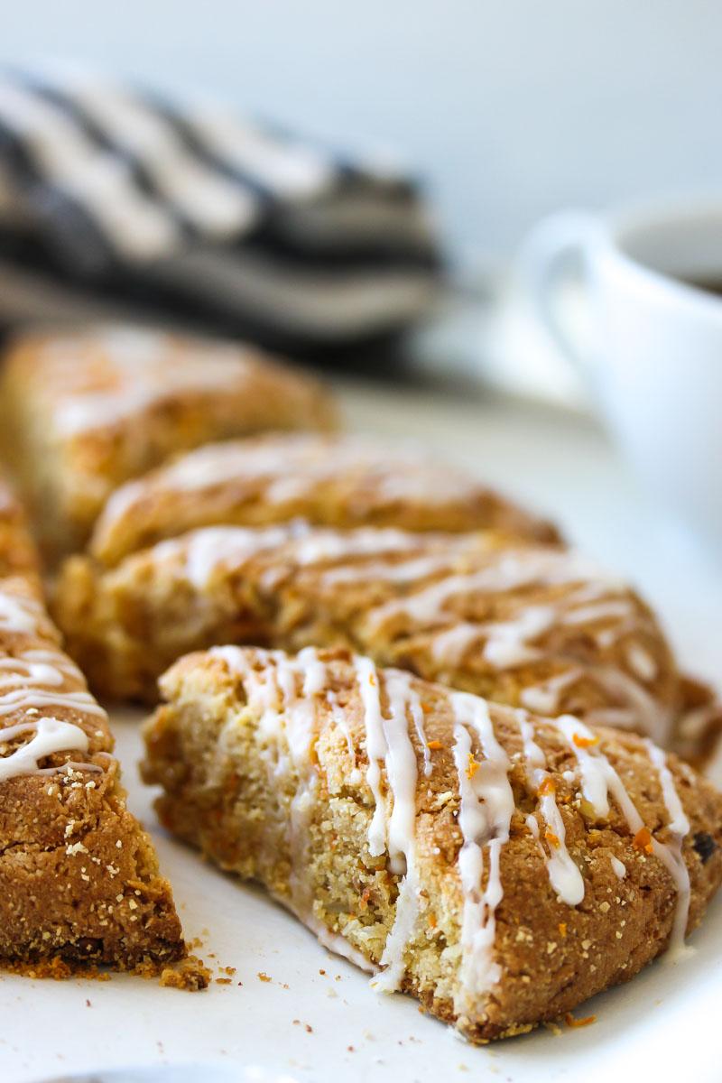 Almond Flour Carrot Cake Scones (gluten free, dairy free) | dishingouthealth.com