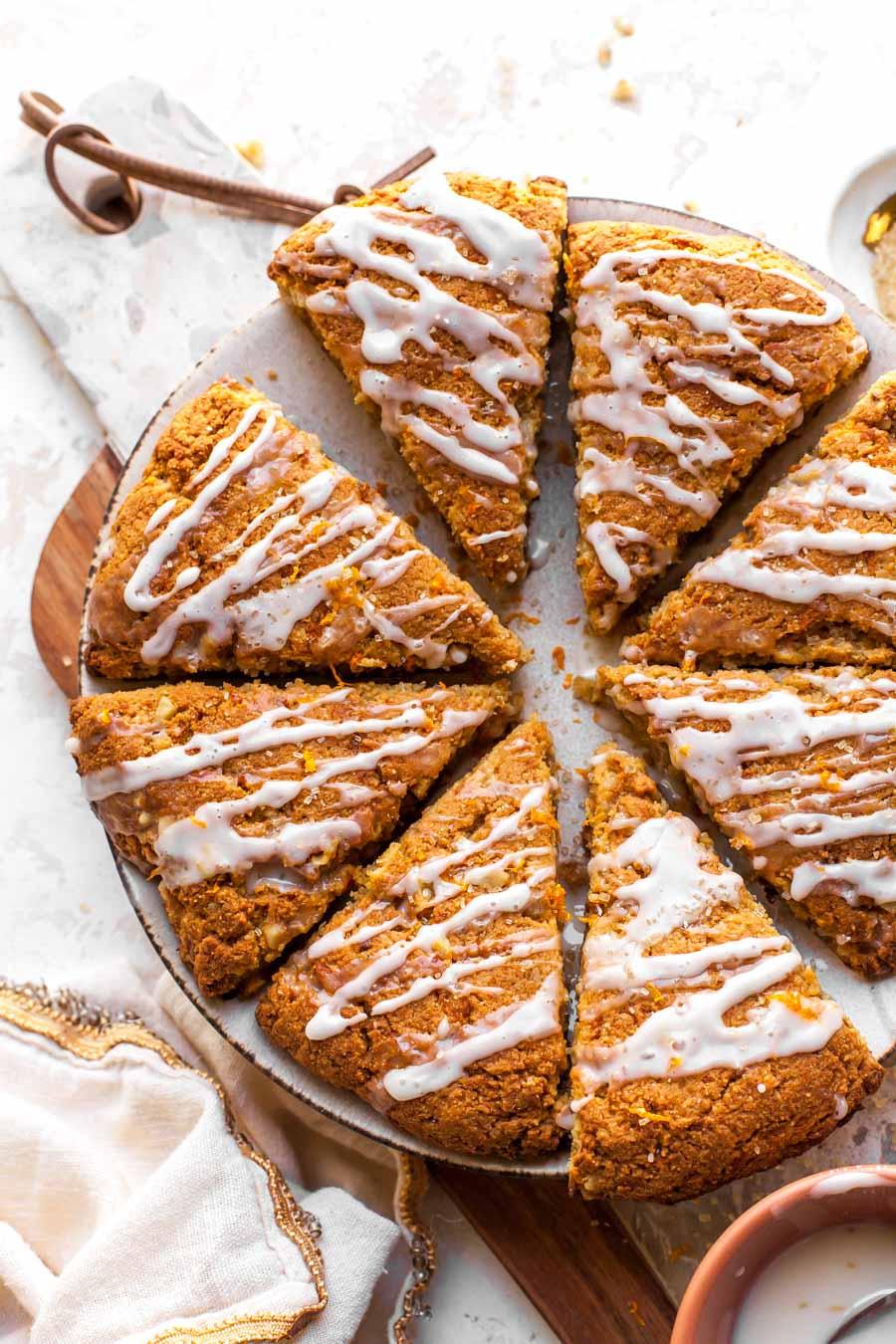 Carrot Cake Scones made with almond flour and orange glaze