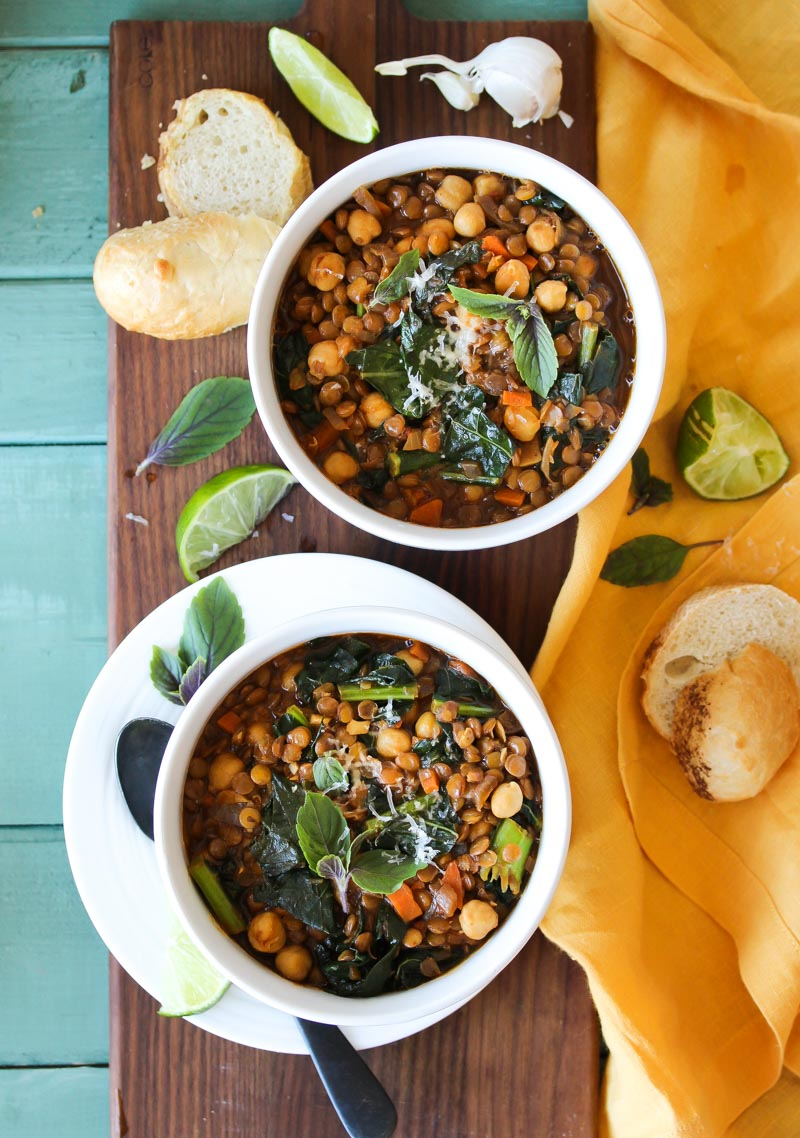 Smoky Chickpea Lentil Soup (vegan, gluten free) | dishingouthealth.com