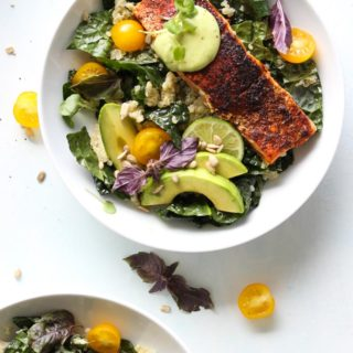 Blackened Salmon Bowls with Avocado Sauce