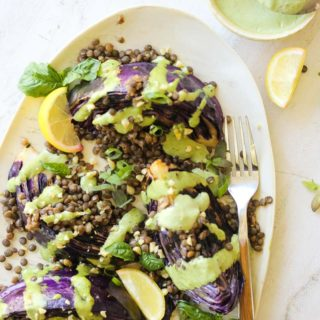 Charred Cabbage with Lentils and Green Tahini