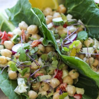 Chickpea Tahini Salad Collard Wraps | dishingouthealth.com