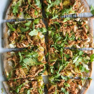 Jackfruit and Brussels Pizza with Almond Ricotta