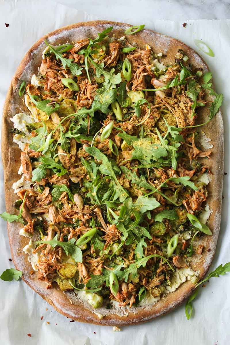 Jackfruit and Brussels Pizza with Almond Ricotta (vegan)   dishingouthealth.com