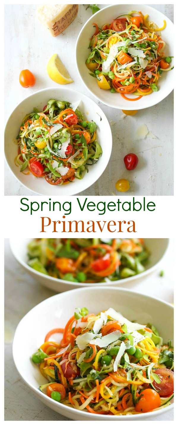 Spring Vegetable Primavera (vegetarian, gluten free) | dishingouthealth.com