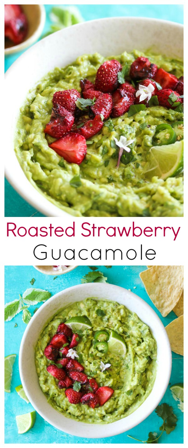 Roasted Strawberry Guacamole (vegan, gluten free) | dishingouthealth.com