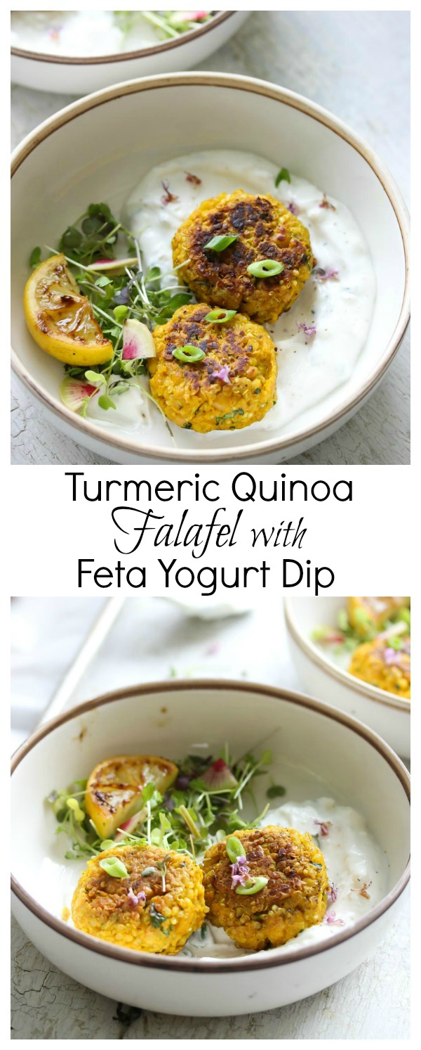 Turmeric Quinoa Falafel with Feta Yogurt Dip | dishingouthealth.com