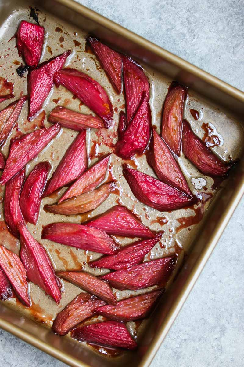 Vanilla Roasted Rhubarb French Toast | dishingouthealth.com