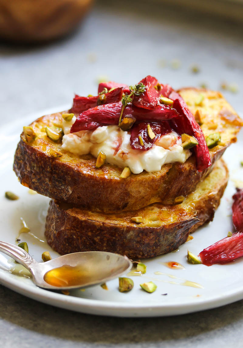 Vanilla Roasted Rhubarb French Toast   dishingouthealth.com