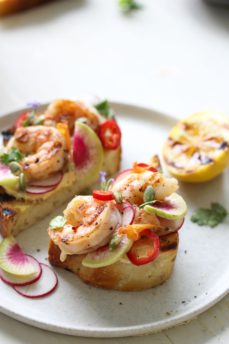 Grilled Shrimp Tartines with Curried Yogurt | dishingouthealth.com
