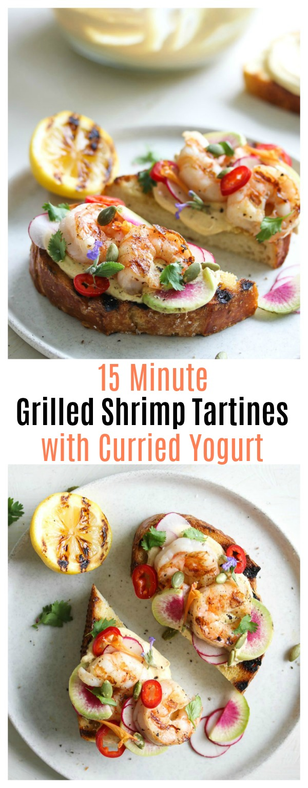 15-Minute Grilled Shrimp Tartines with Curried Yogurt | dishingouthealth.com