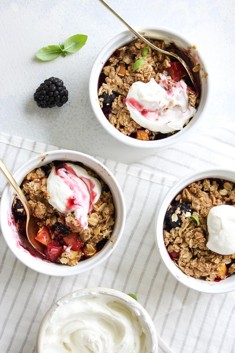 Summer Fruit Crisps with Honey-Whipped Goat Cheese