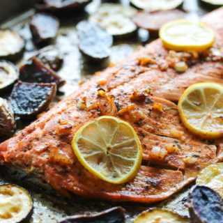 Sheet Pan Chili-Lemon Salmon | dishingouthealth.com