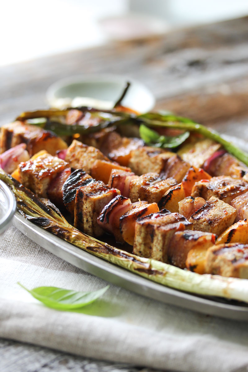 Chili-Lime Tofu and Peach Skewers | dishingouthealth.com