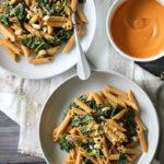 Kale Pasta with Sun-dried Tomato Cashew Sauce (vegan) | dishingouthealth.com