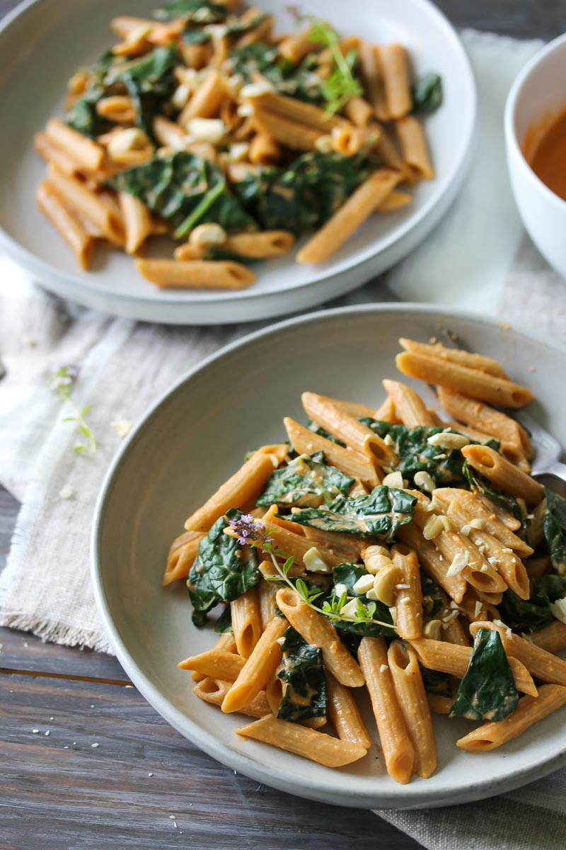 Kale Pasta with Sun-dried Tomato Cashew Sauce (vegan) | dishingouthealth.com
