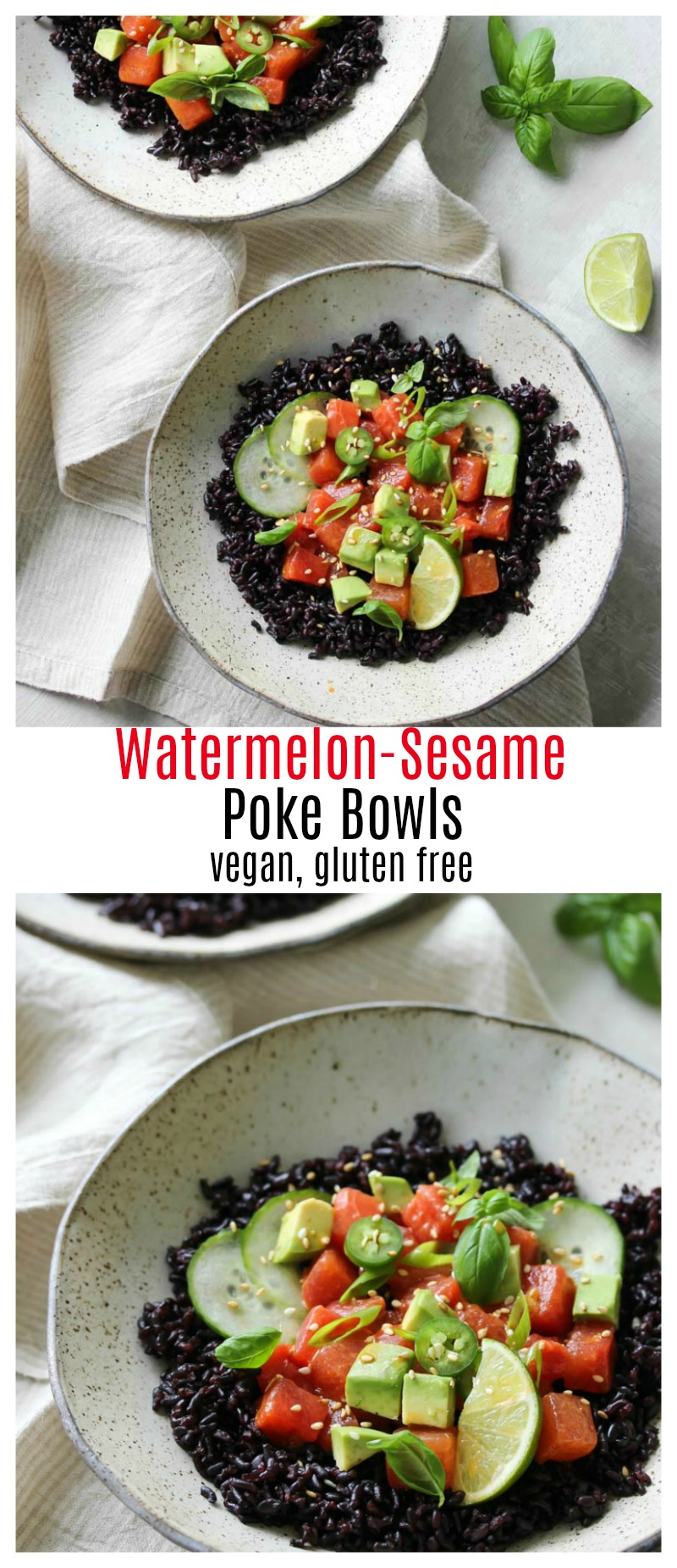 Watermelon-Sesame Poke Bowls (vegan, gluten free) | dishingouthealth.com