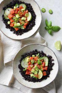 Watermelon-Sesame Poke Bowls | dishingouthealth.com