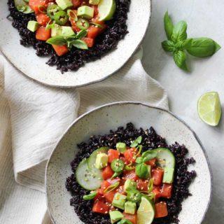 Watermelon-Sesame Poke Bowls