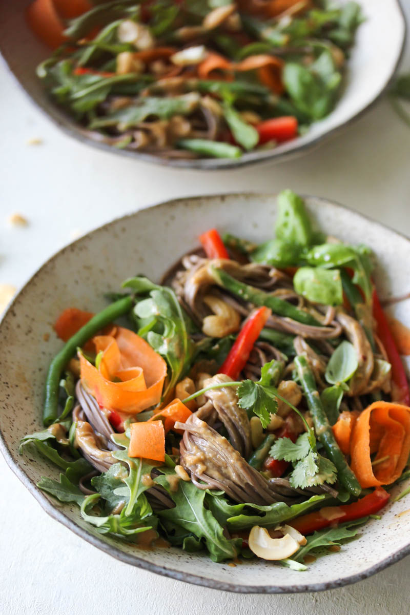 Soba Salad with Sesame-Cashew Sauce | dishingouthealth.com