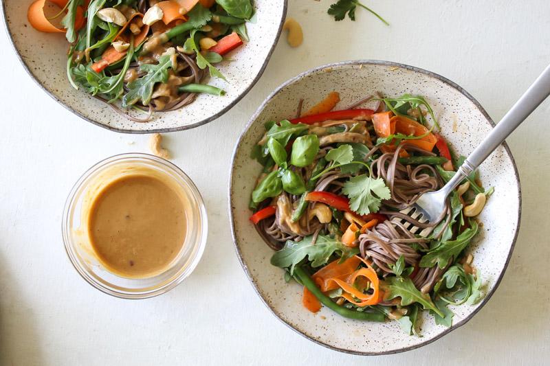 Soba Salad with Sesame-Cashew Sauce | dishingouthealth.com