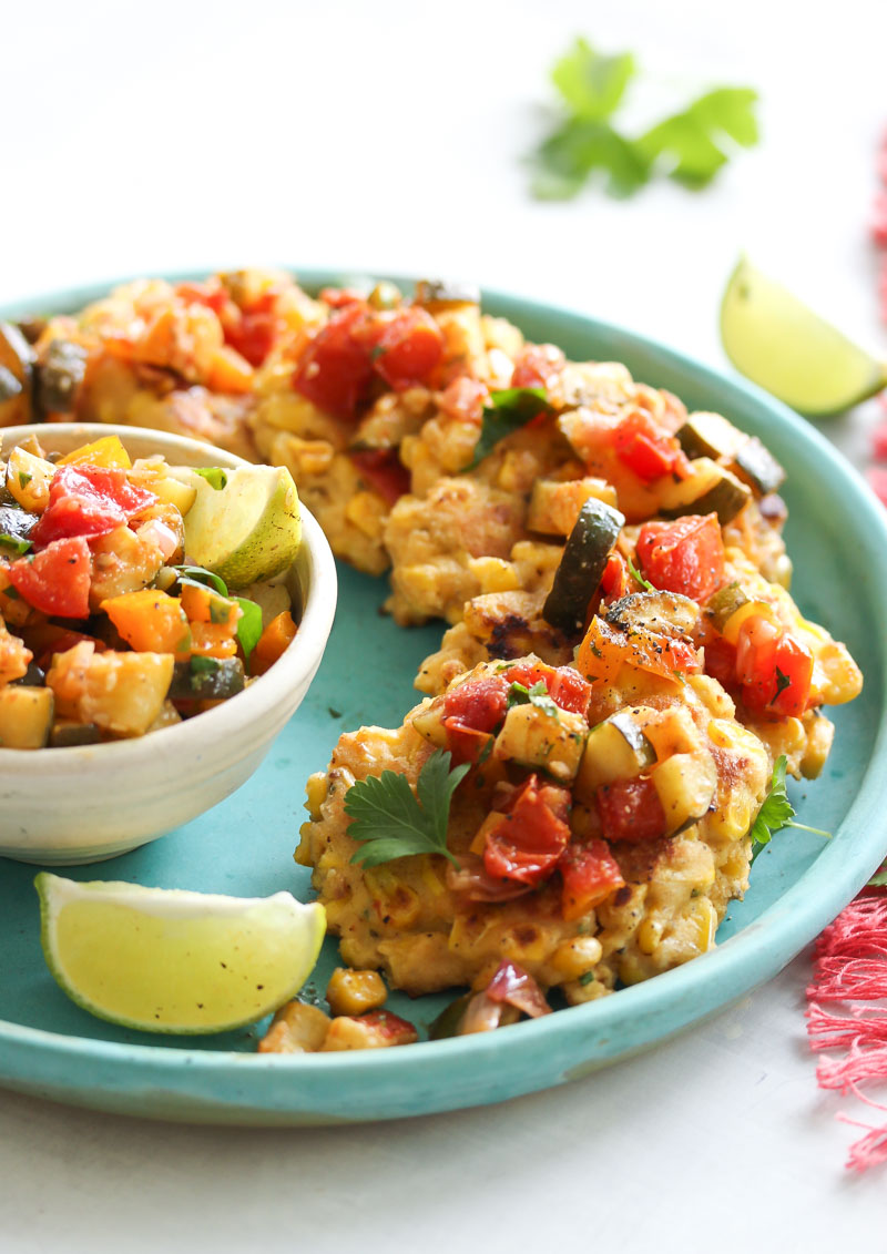 Chive Corn Fritters with Roasted Zucchini Salsa   dishingouthealth.com