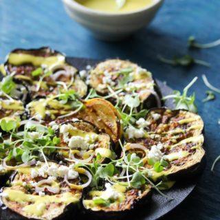 Miso-Roasted Eggplant with Turmeric-Tahini Sauce