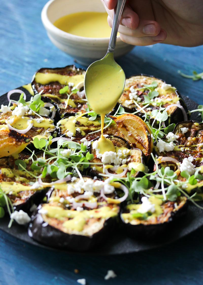 Miso-Roasted Eggplant with Turmeric-Tahini Sauce | dishingouthealth.com