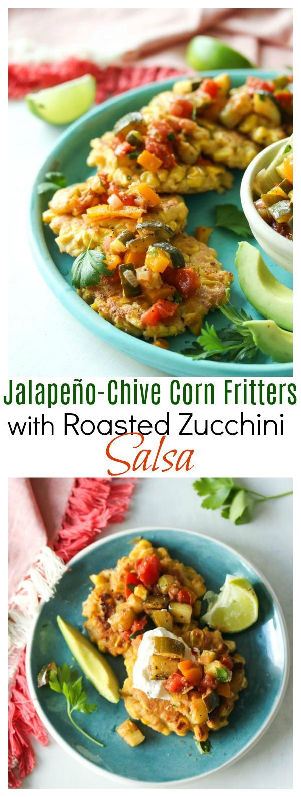 Jalapeno-Chive Corn Fritters with Roasted Zucchini Salsa   dishingouthealth.com