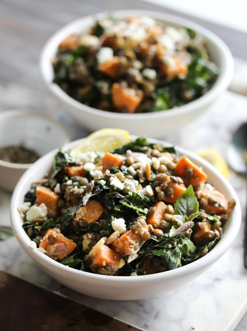 Lentil Kale Salad with Sweet Potato and Tahini | dishingouthealth.com