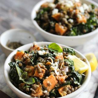 Lentil Kale Salad with Sweet Potato and Tahini