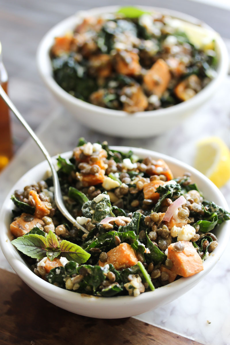 Lentil Kale Salad with Sweet Potato and Tahini | dishingouthealth.com