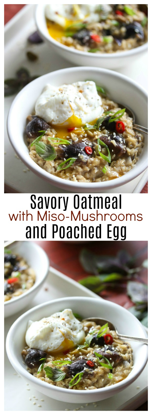 Savory Oatmeal with Miso-Mushrooms and Poached Egg | dishingouthealth.com
