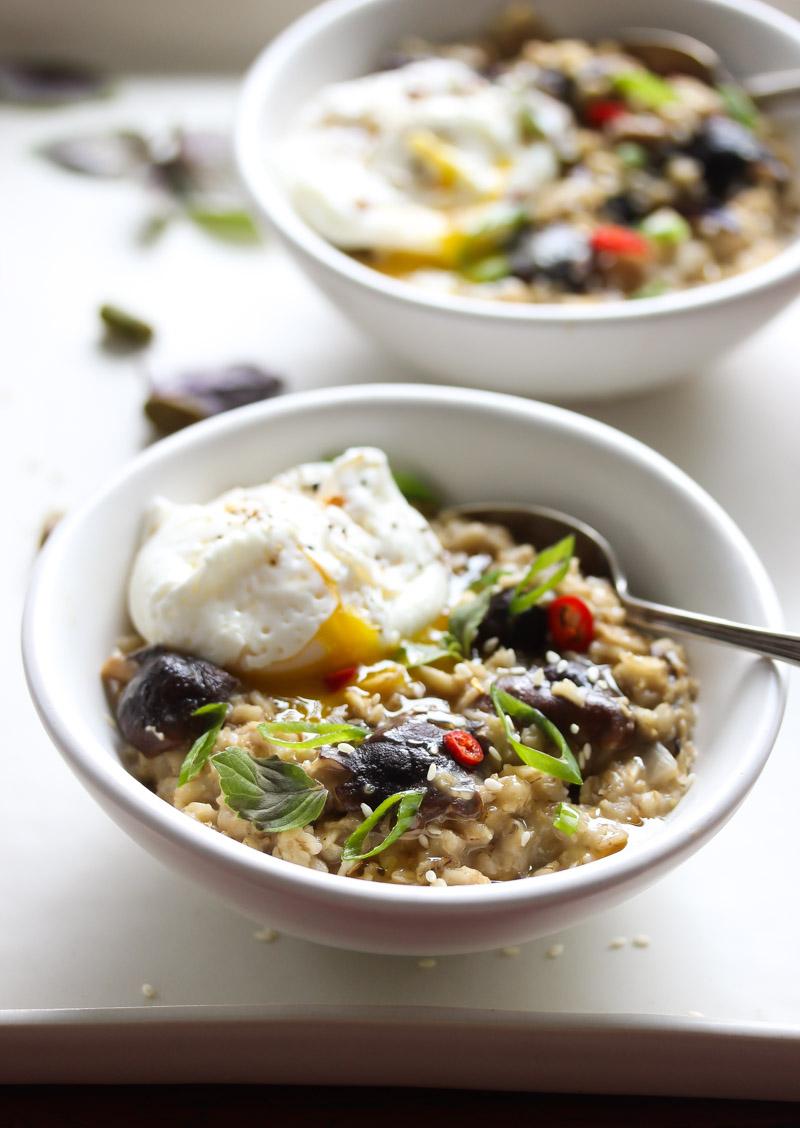 Savory Oatmeal with Miso-Mushrooms and Poached Egg | dishingouthealth.com