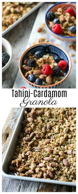 Tahini-Cardamom Granola | dishingouthealth.com