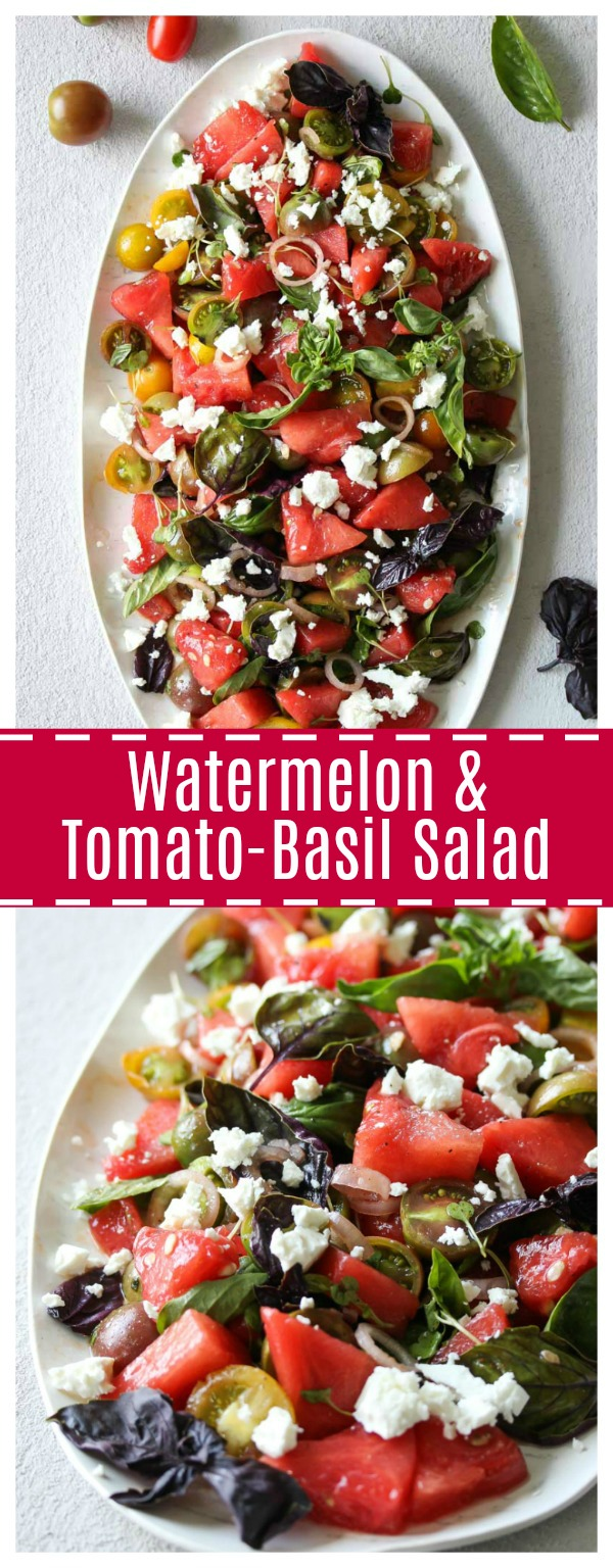 Watermelon and Tomato-Basil Salad | dishingouthealth.com