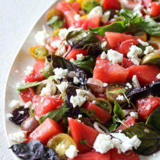 Watermelon and Tomato-Basil Salad