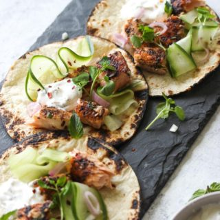 Sumac Salmon Tacos with Coriander-Mint Yogurt