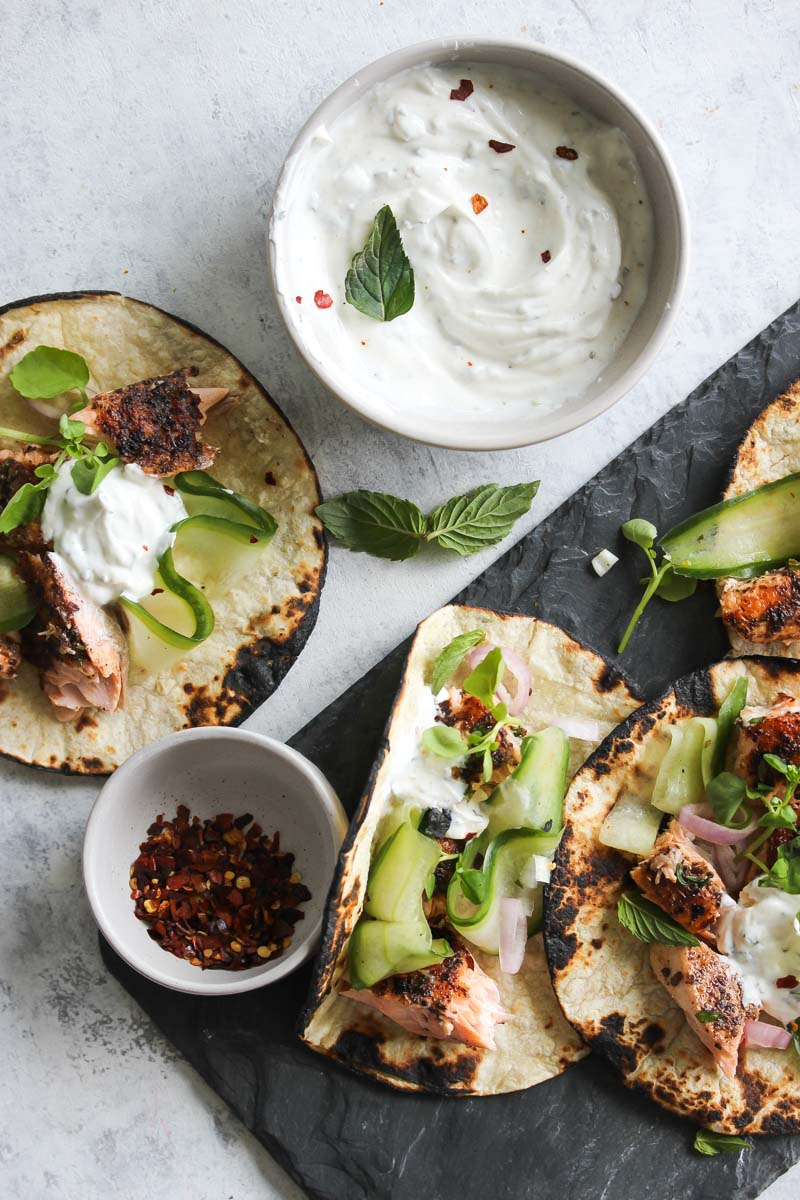 Sumac Salmon Tacos with Coriander-Mint Yogurt | dishingouthealth.com
