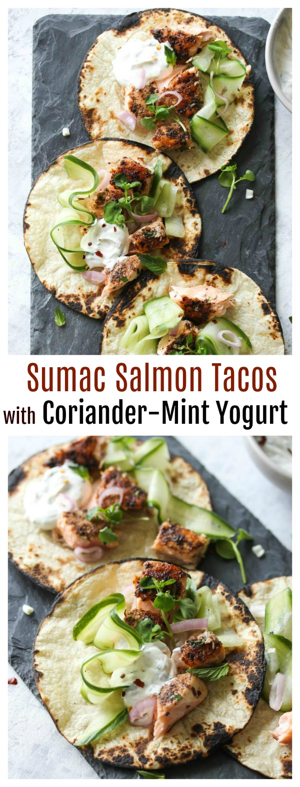 Sumac Salmon Tacos with Coriander-Mint Yogurt | dishingouthealth.com