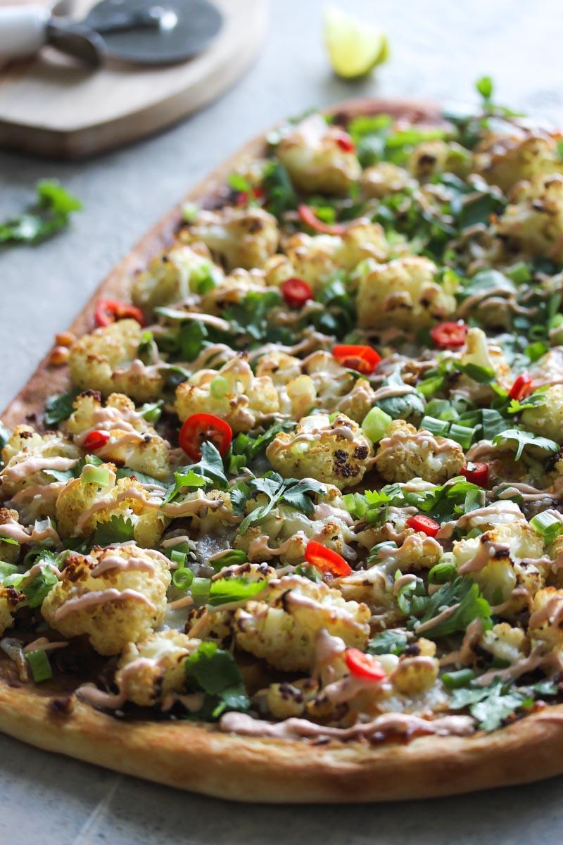 Thai Roasted Cauliflower Pizza | dishingouthealth.com