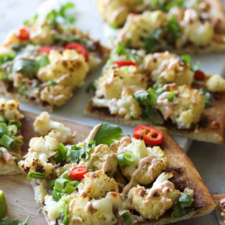 Thai Roasted Cauliflower Pizza | dishingouthealth.com