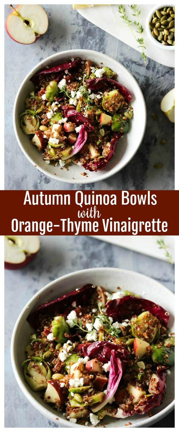Autumn Quinoa Bowls with Orange-Thyme Vinaigrette | dishingouthealth.com