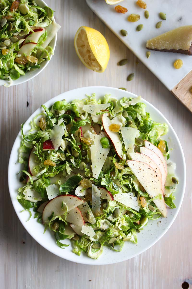 Shaved Brussels and Pear Salad with Manchego