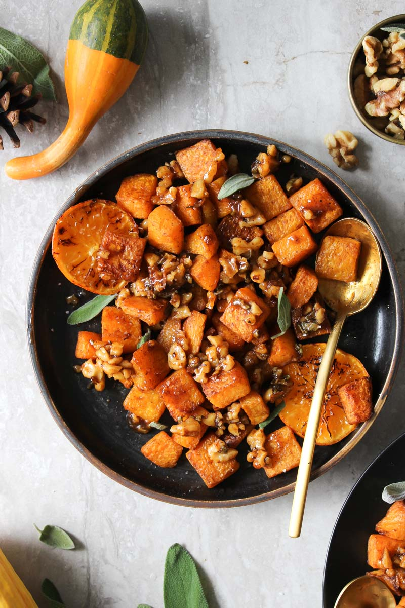 roasted butternut squash with candied walnuts and sage dishing out